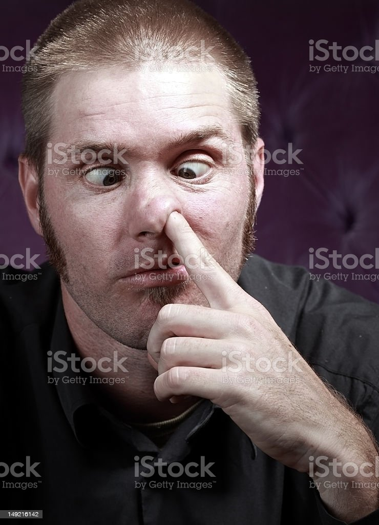 Young man with bad manners royalty-free stock photo