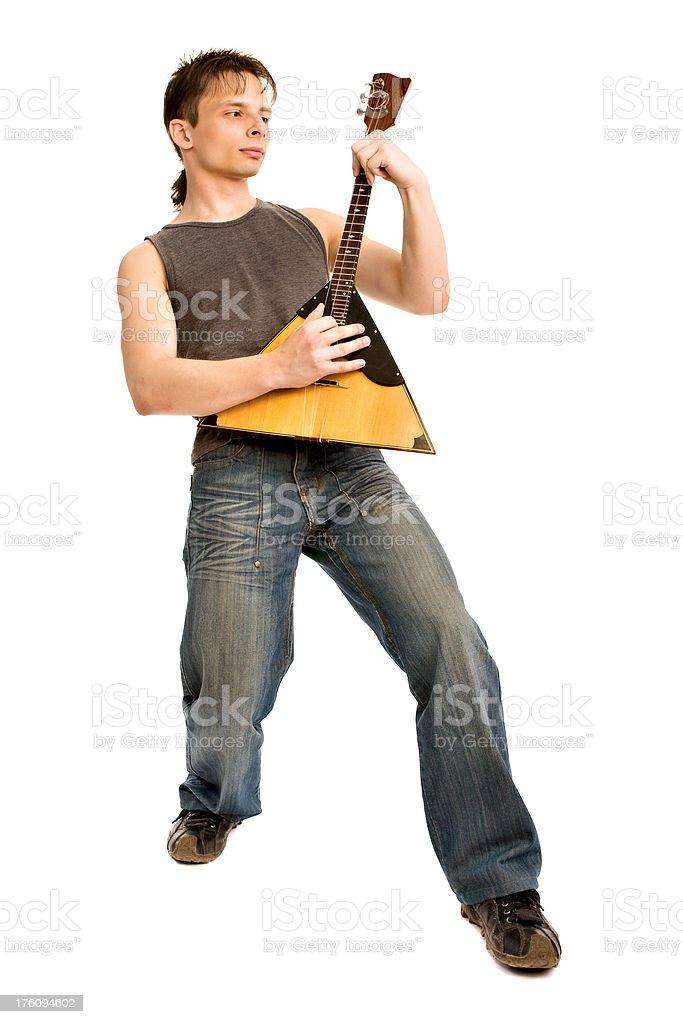 Young man with balalaika stock photo