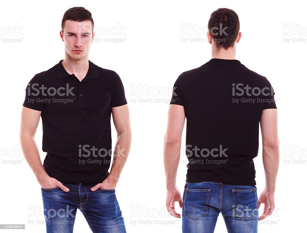 Young man with black polo shirt stock photo