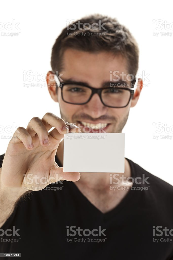 Young man with blank card royalty-free stock photo