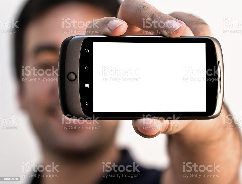 Young Man with Blank Screen Smartphone royalty-free stock photo