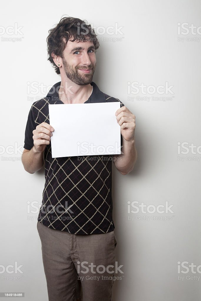 Young Man with Blank Sign stock photo
