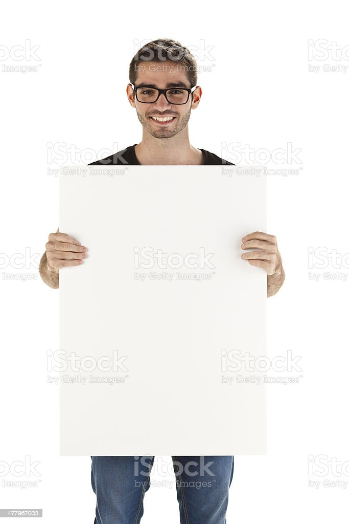 Young man with blank sign royalty-free stock photo