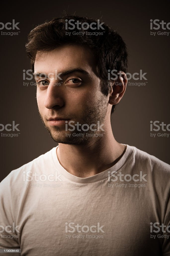 Young Man with Blank Stare stock photo