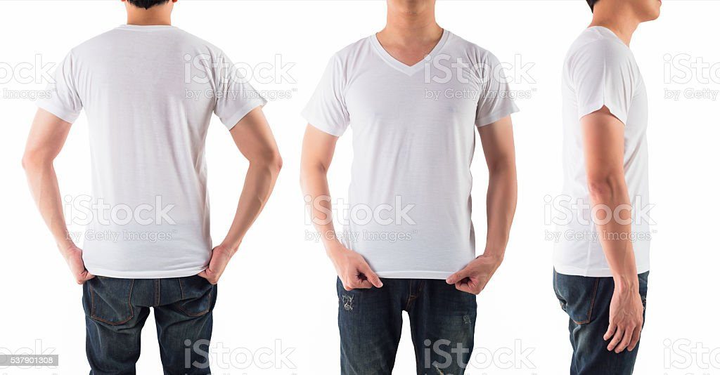 Young man with blank white shirt isolated white background stock photo