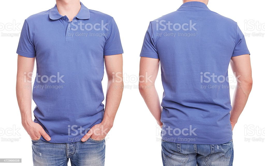 Young man with blue polo shirt stock photo