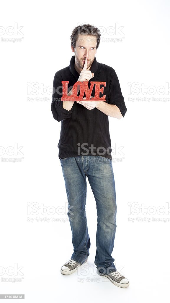 Young man with blue sweater isolated on a white background royalty-free stock photo