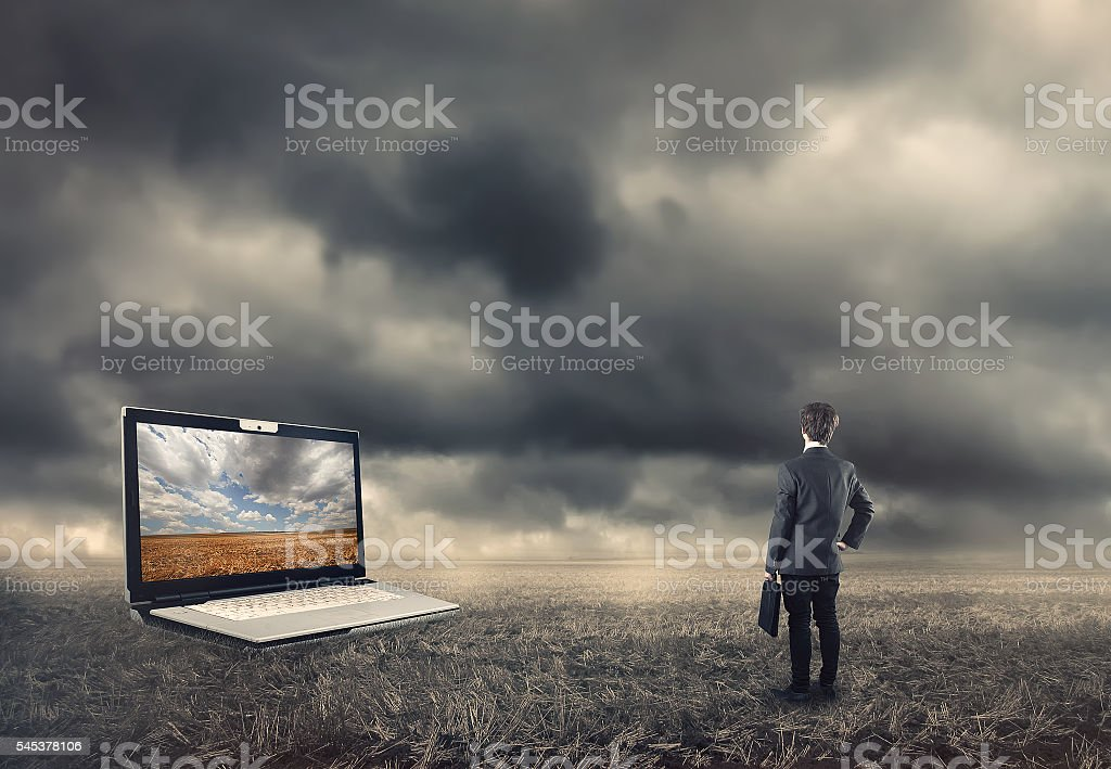Young man with briefcase stock photo