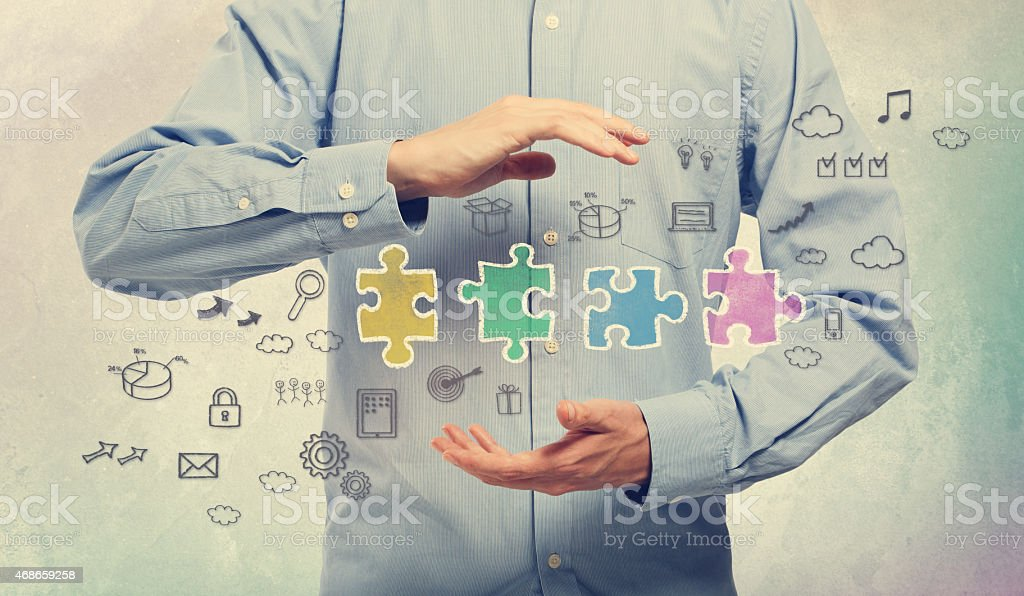Young man with business creativity concepts stock photo