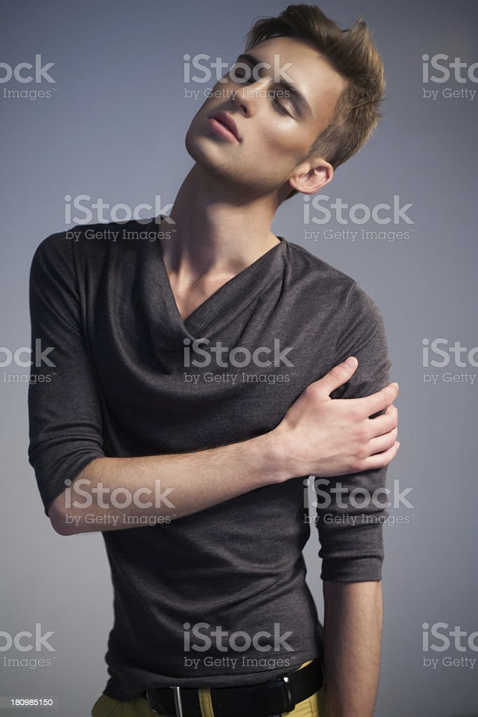 Young man with closed eyes royalty-free stock photo
