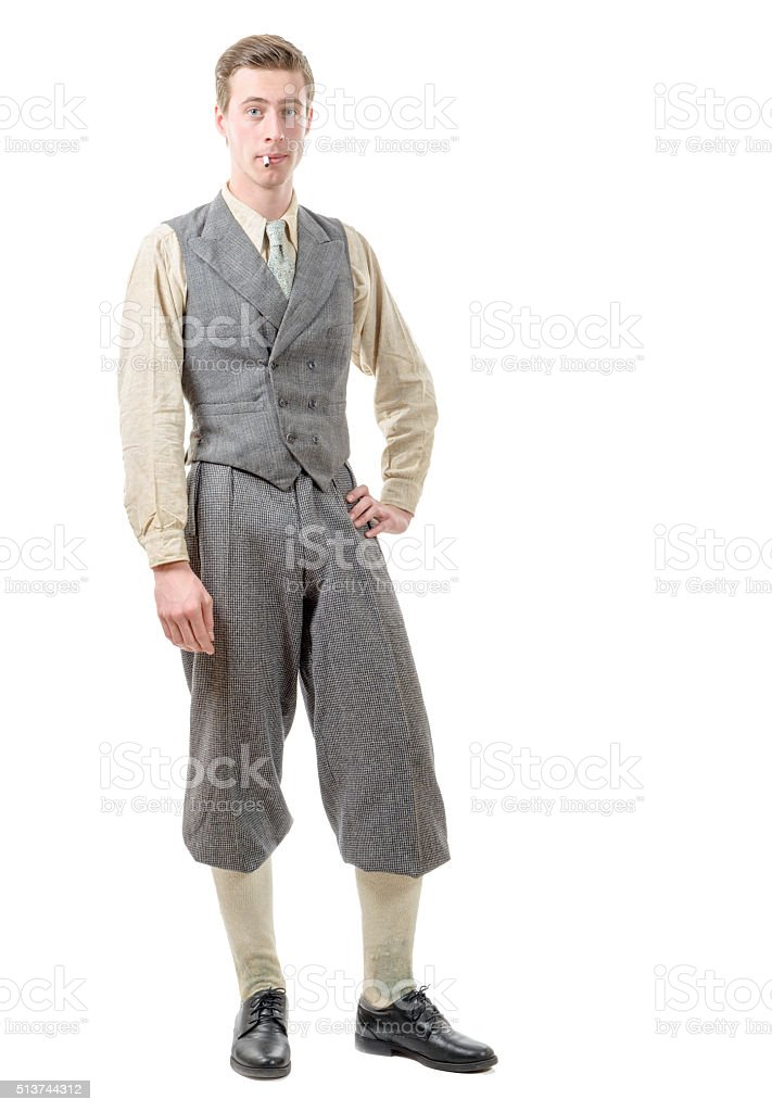 young man with clothes in 20s style. stock photo