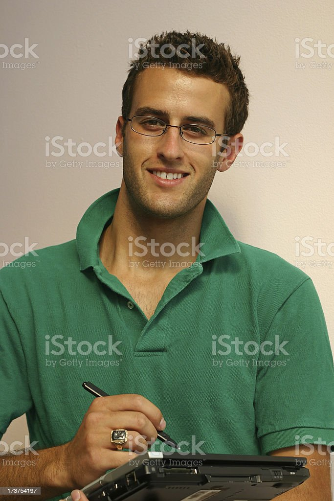 Young Man with Computer stock photo