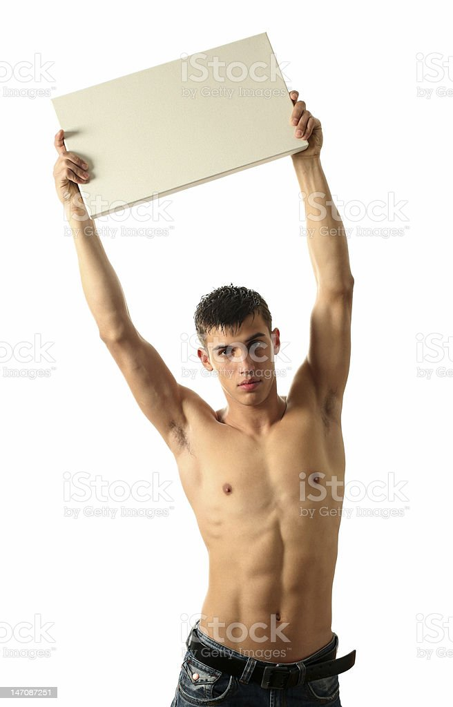 Young Man with Copy Space Blank Billboard royalty-free stock photo