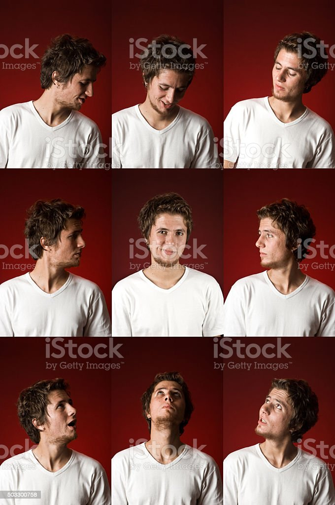 Young man With Different Expressions stock photo