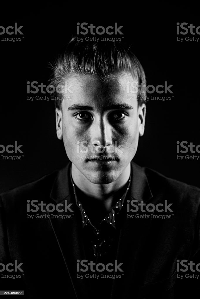 Young man with Dramatic Lighting stock photo