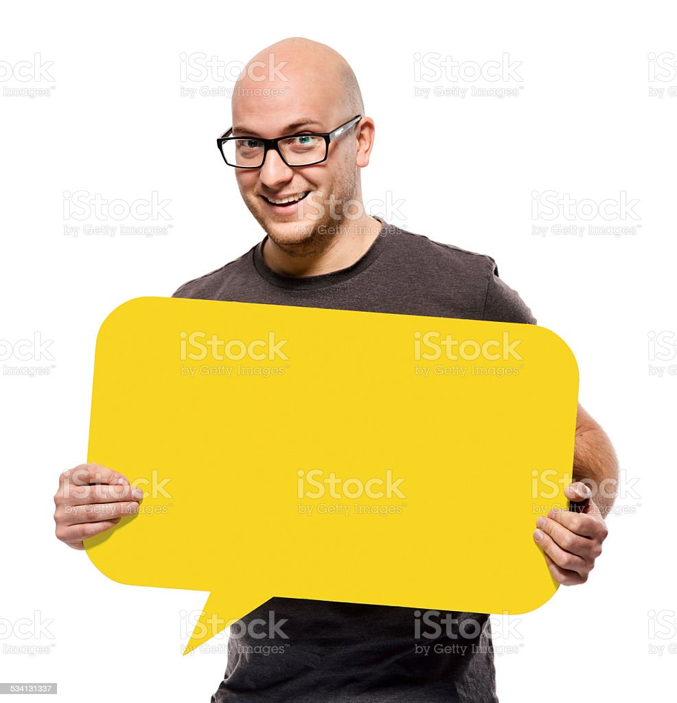 Young man with empty speech bubble isolated stock photo
