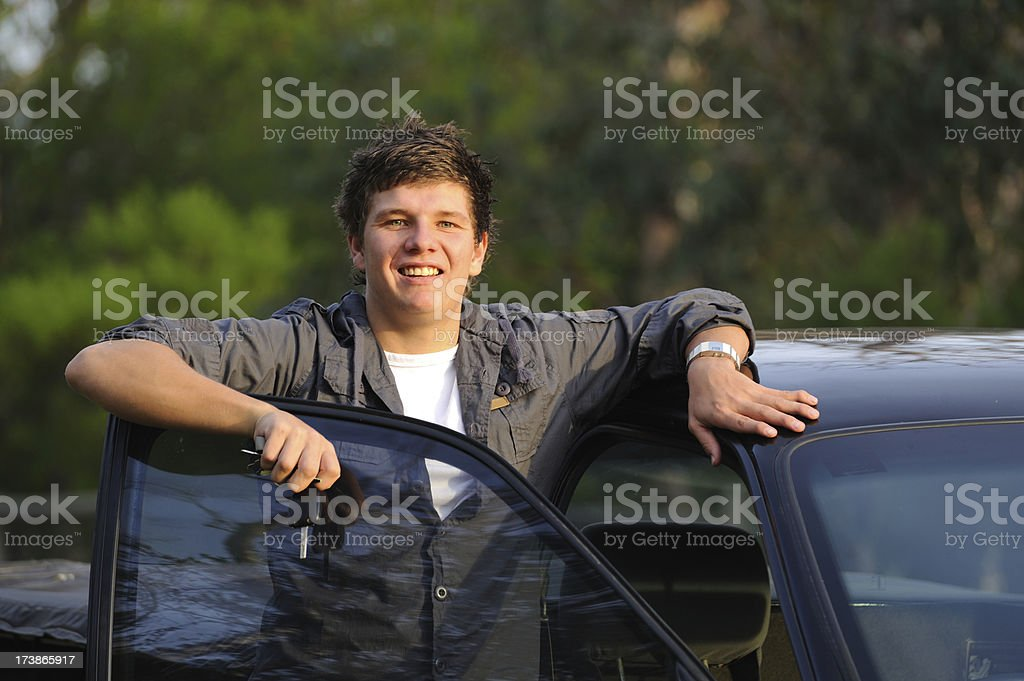 Young Man with First Car Keys stock photo