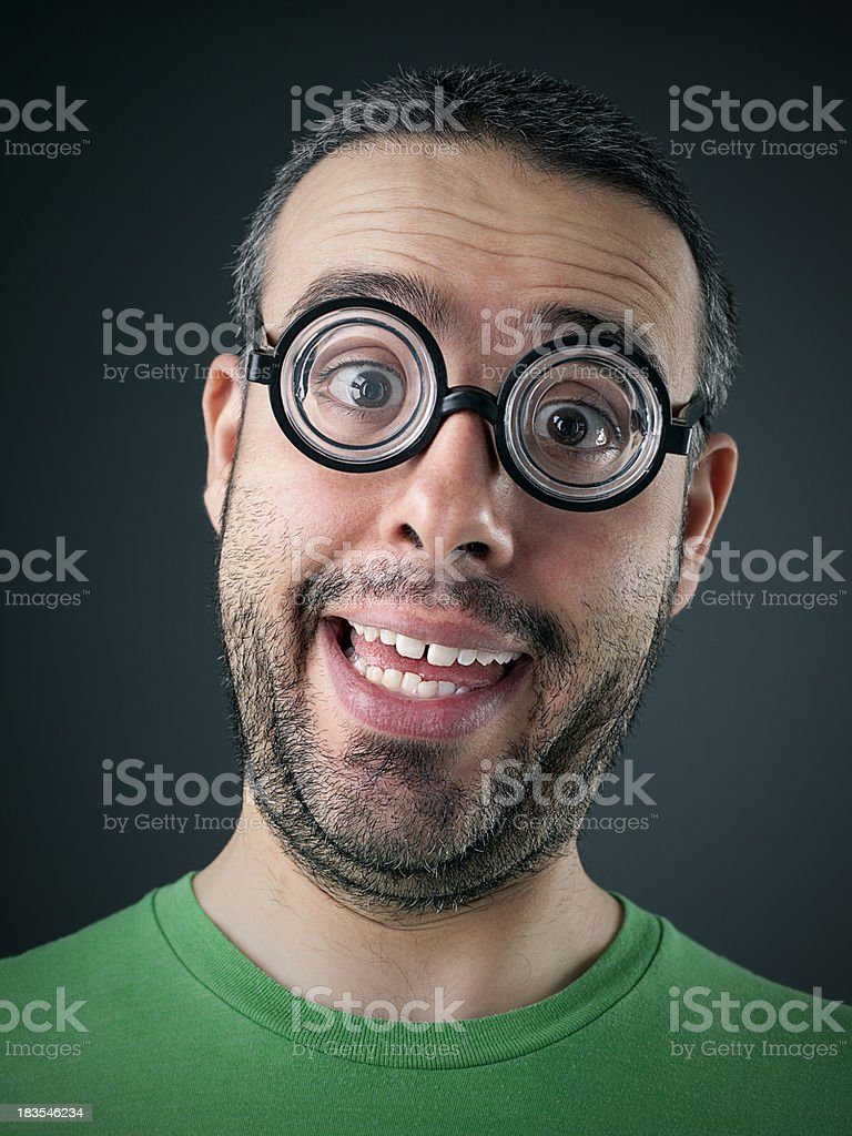 young man with funny glasses royalty-free stock photo