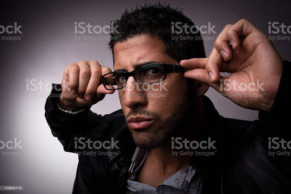 Young Man With Glasses Making Face royalty-free stock photo