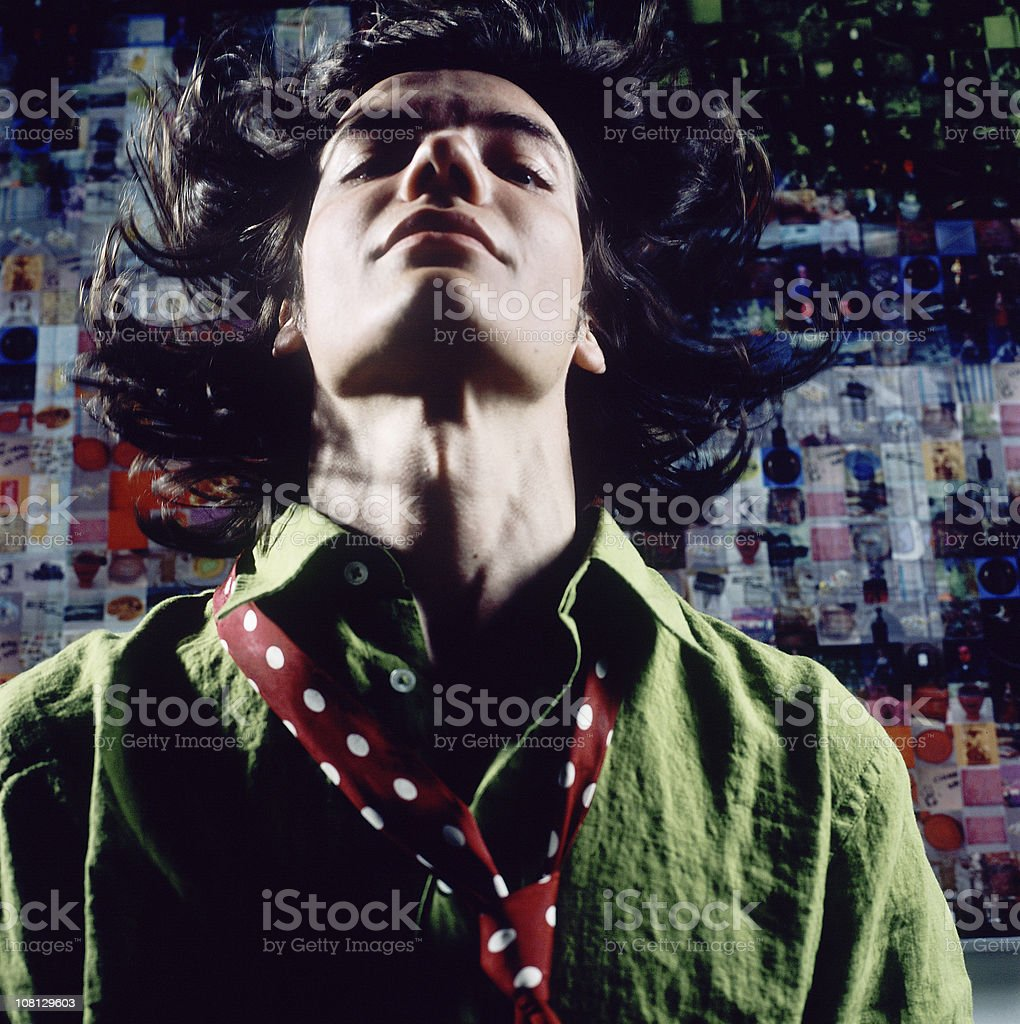 Young Man with Hair Everywhere stock photo