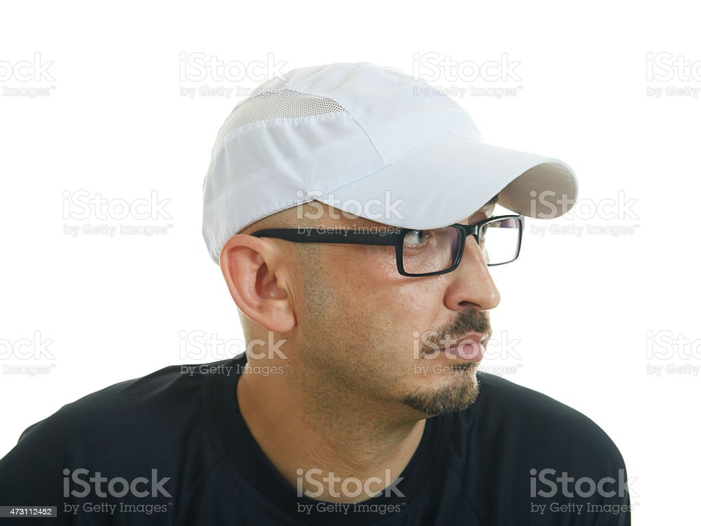 Young man with hat and eyeglasses on white background stock photo