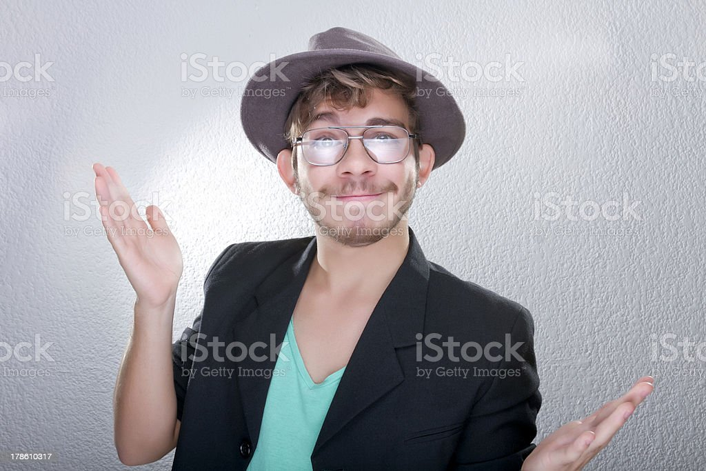 Young man with hat and glasses royalty-free stock photo