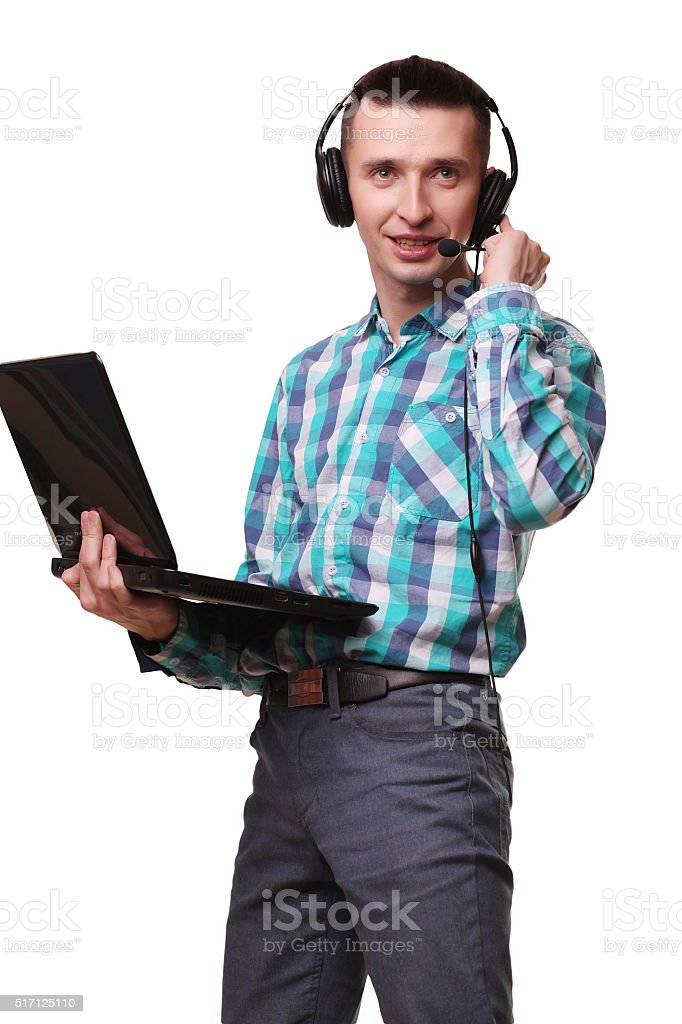 Young Man with Headset Holding Laptop   Call center man with royalty-free stock photo