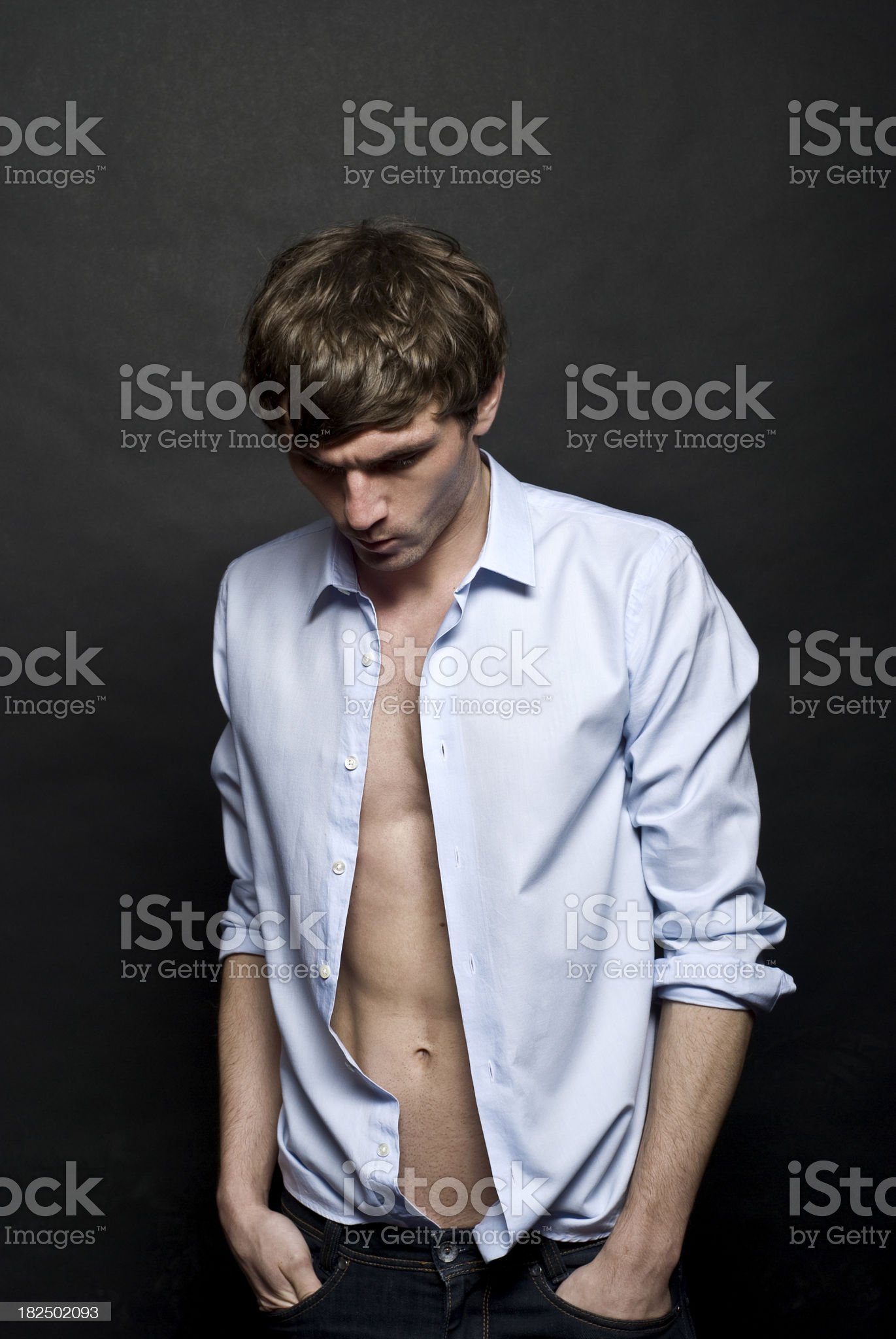 Young man with his thoughts royalty-free stock photo