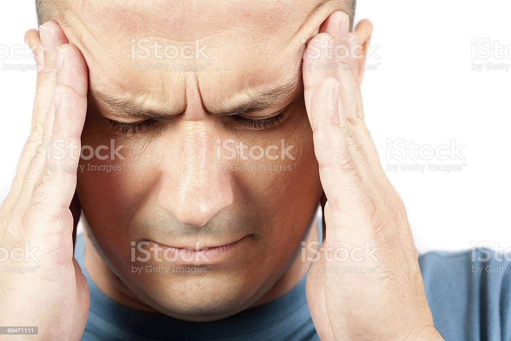 Young man with migraine stock photo