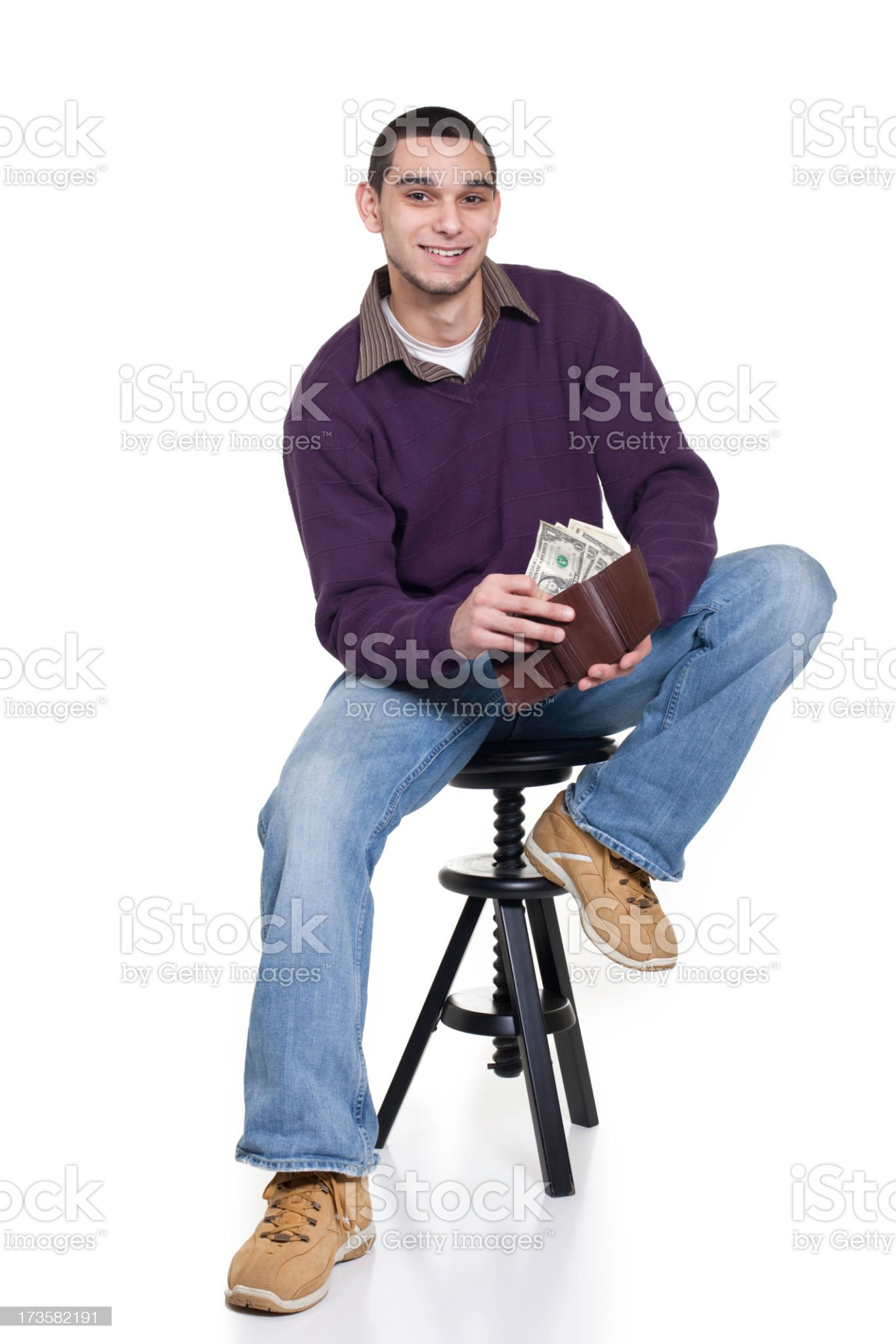 Young Man with Money royalty-free stock photo