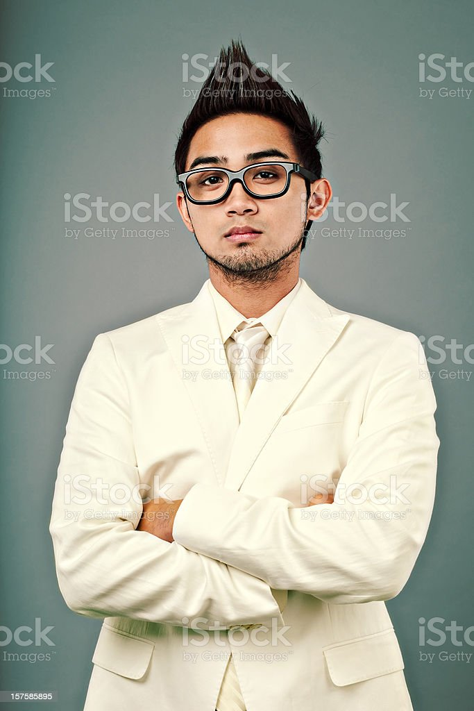 young man with nice white suit royalty-free stock photo