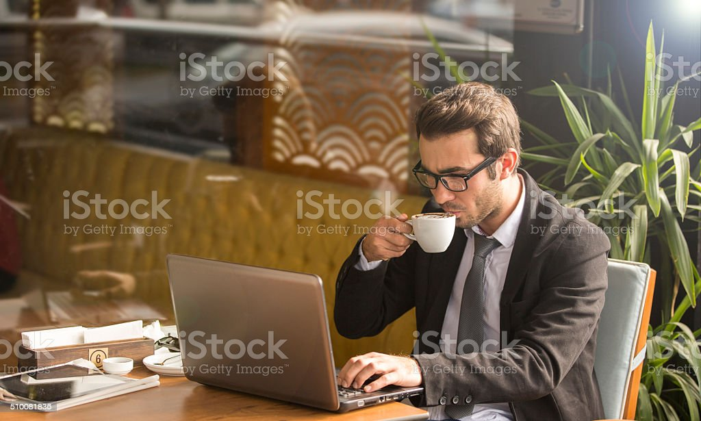 Young man with notebook stock photo