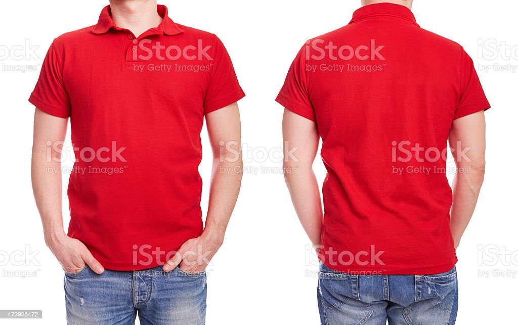 Young man with red polo shirt stock photo