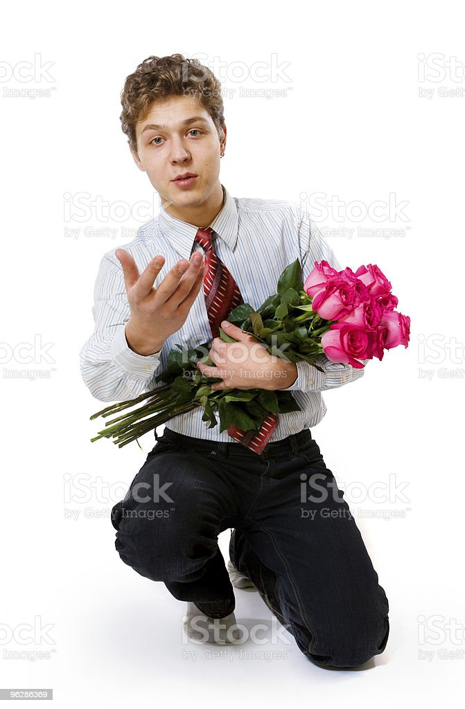 young man with roses royalty-free stock photo