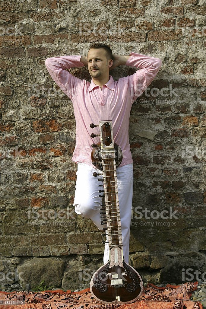 young man with sitar royalty-free stock photo