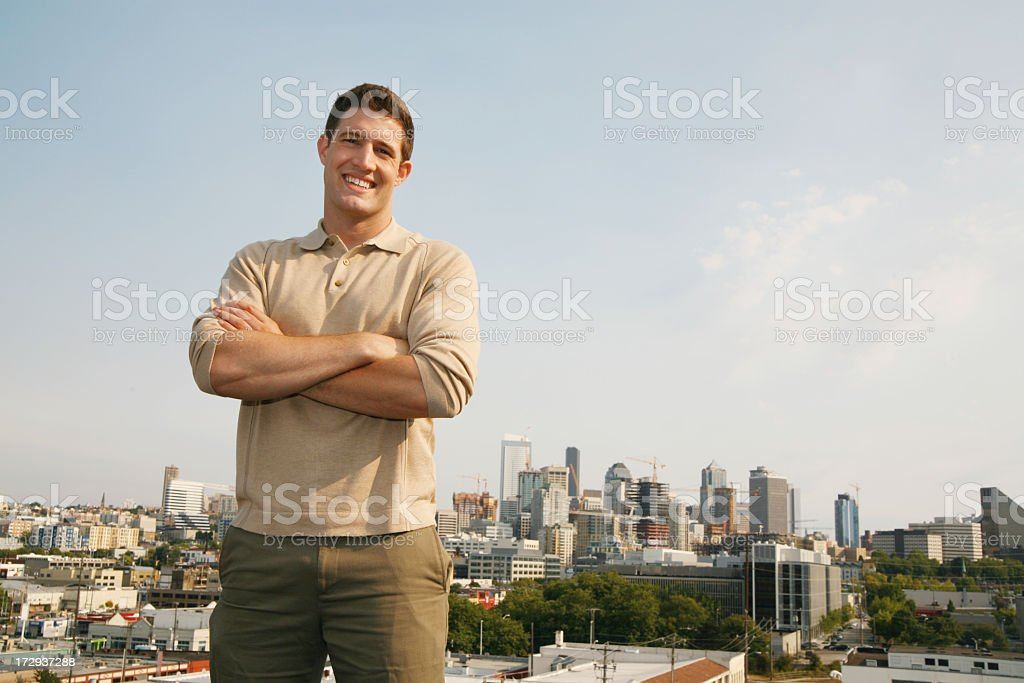 Young man with skyline royalty-free stock photo