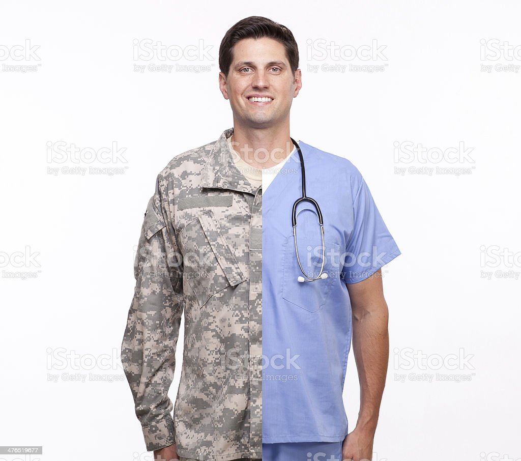 young man with split careers male nurse and soldier stock photo