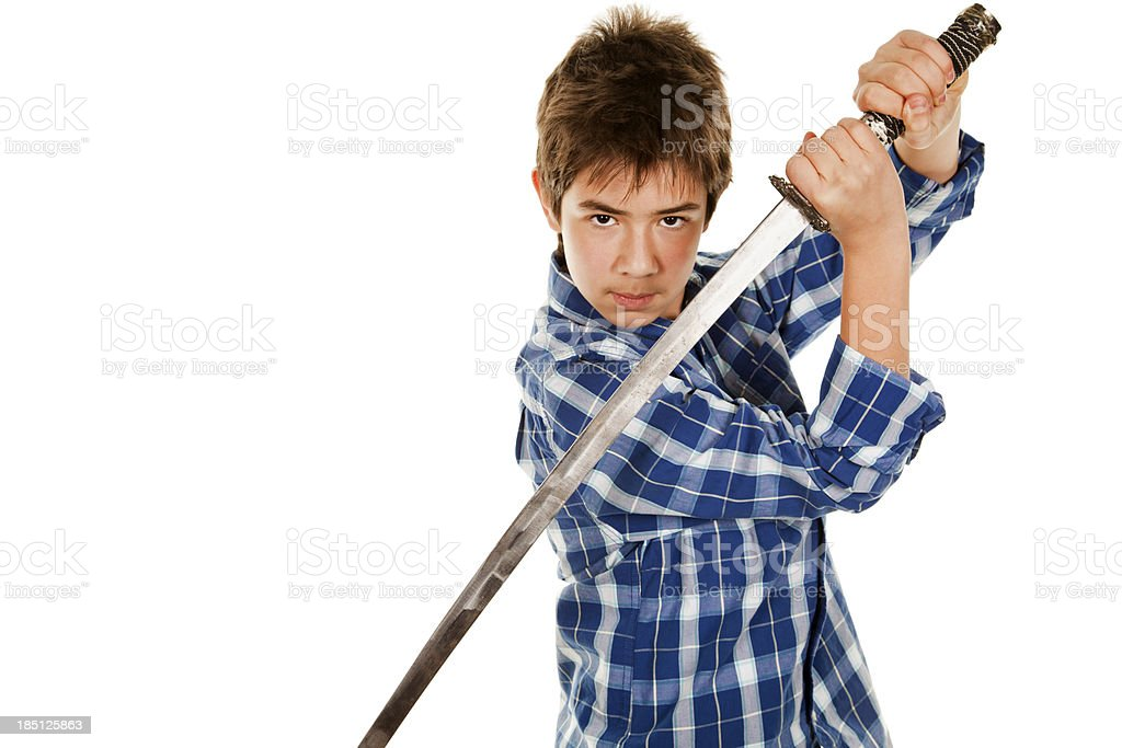 Young Man with Sword royalty-free stock photo