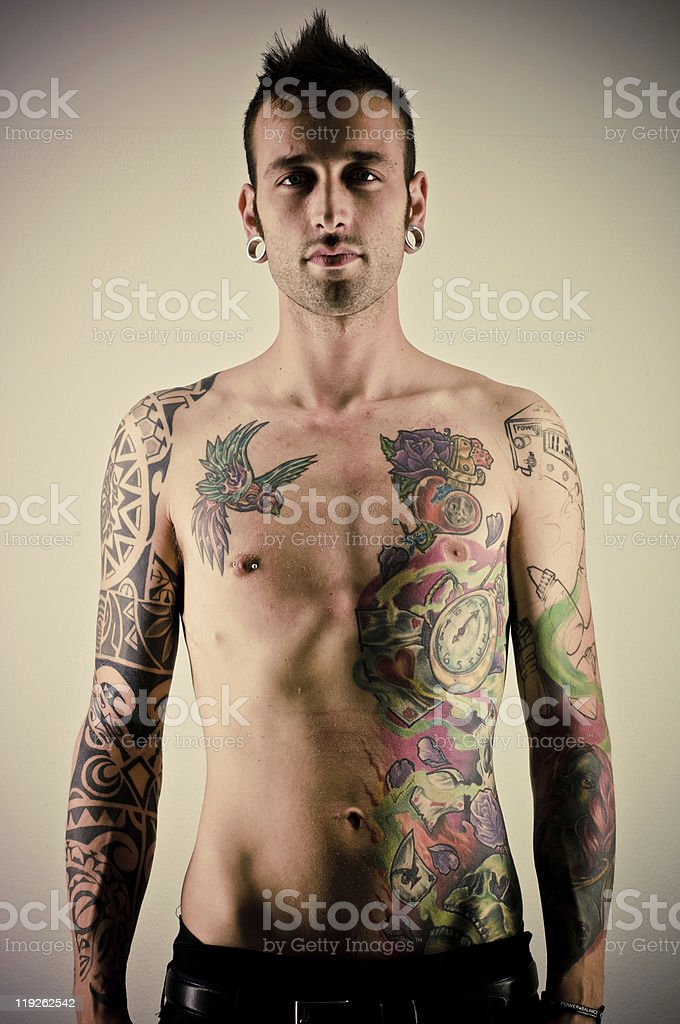 Young Man With Tattoos royalty-free stock photo