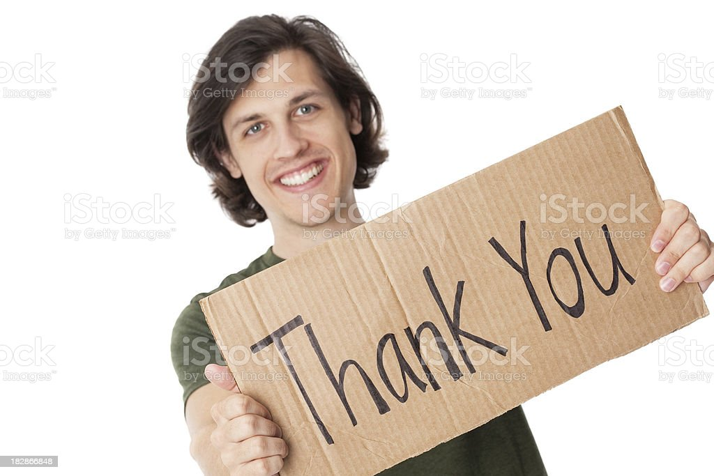 Young Man With Thank You Cardboard Sign royalty-free stock photo