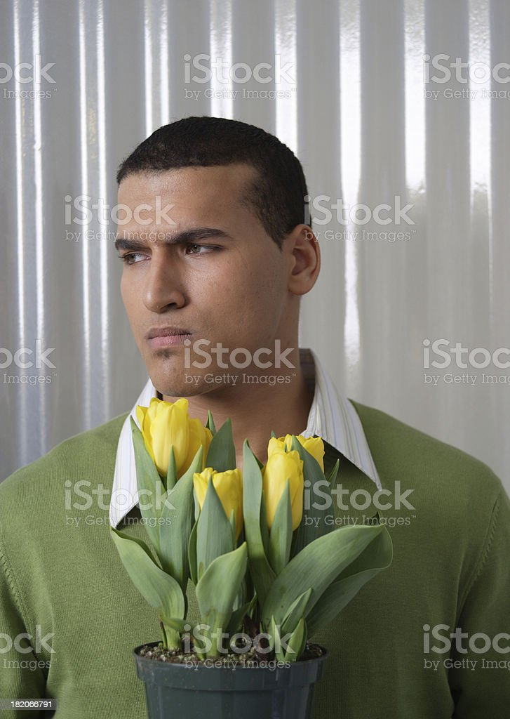 Young Man with tulips stock photo