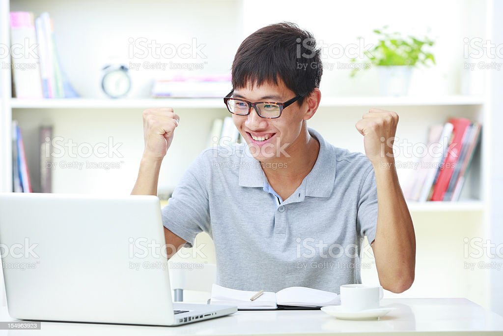 young man working in home royalty-free stock photo