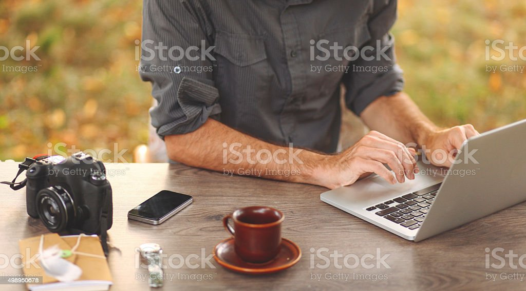 Young man working in IT stock photo