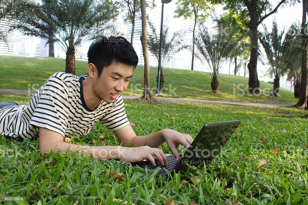 Young man working in the park Lizenzfreies stock-foto