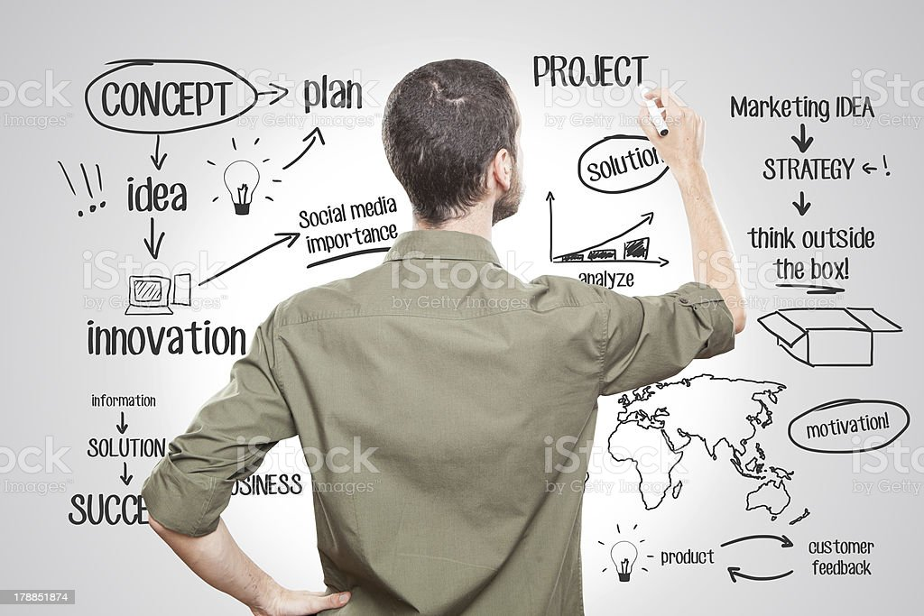 Young man writing about business stock photo
