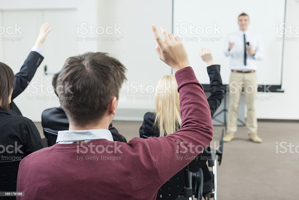 Young Manager answering the questions royalty-free stock photo