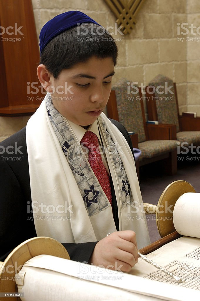 Young man's Bar Mitzvah royalty-free stock photo