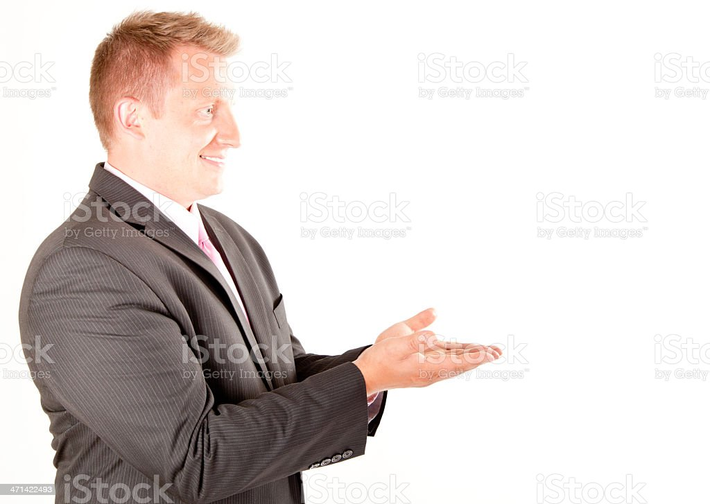 Young man's hand signs stock photo