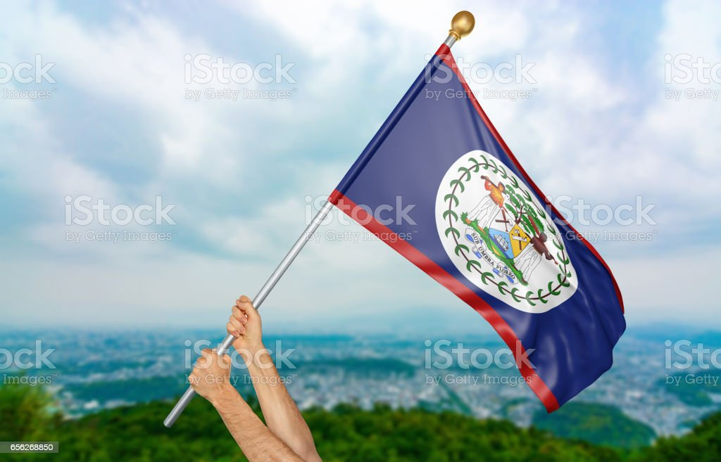 Young man's hands proudly waving the Belize national flag stock photo