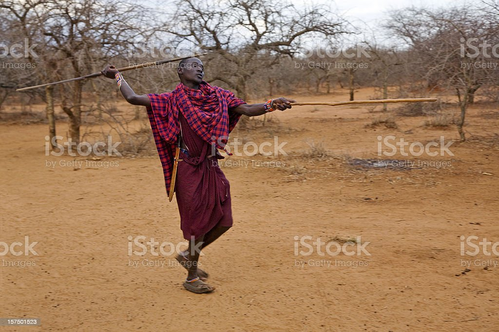 Young masai warrior throwing spear. stock photo